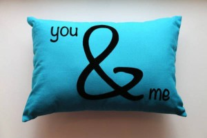 You And Me Pillow Blue
