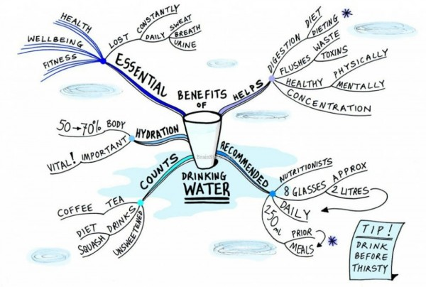 Drink Water On An Empty Stomach - Benefits Mind Map
